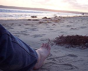 A foot on Coronado sand.
