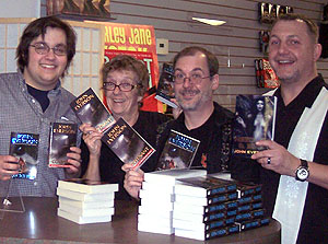 Me with Chris and Diane from Mysterious Galaxy and P.S. Gifford.