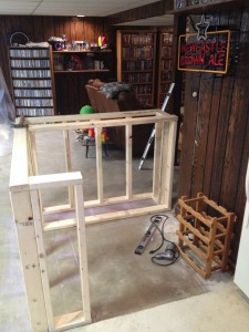 Bar frame before the front cabinet is added