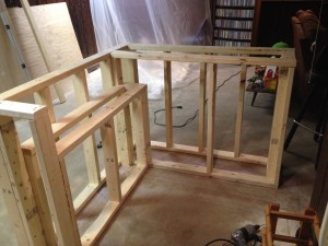 Bar frame with under cabinet roughed in