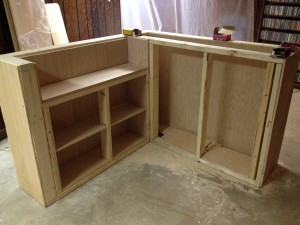 Cutting and placing the cabinet shelves