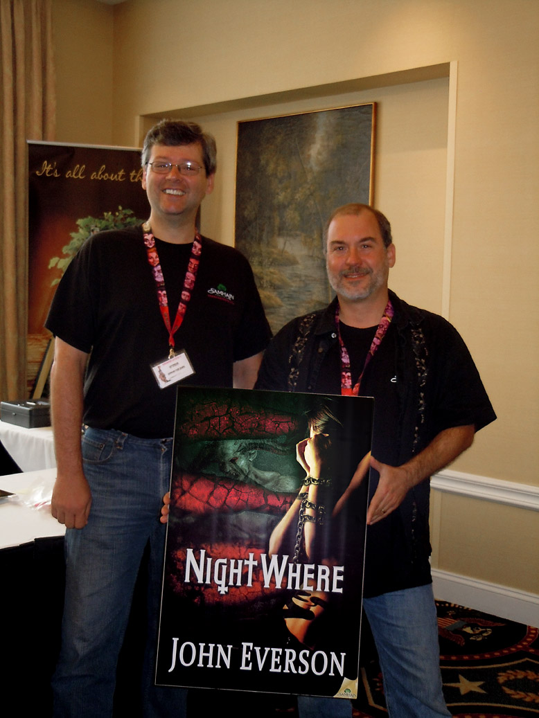 Don D'Auria with JohnEverson and the cover of NightWhere