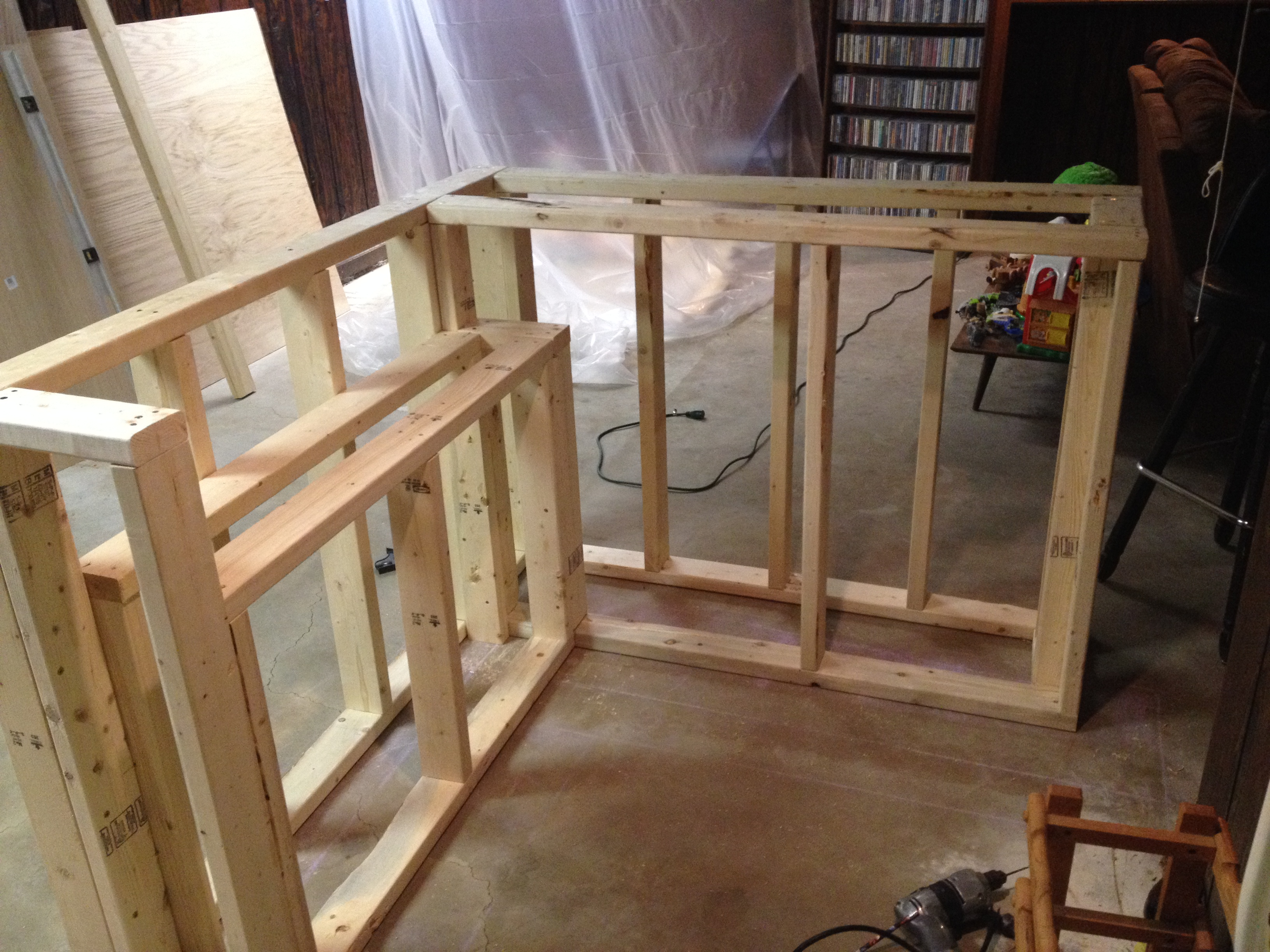 ... Bar frame with under cabinet roughed in