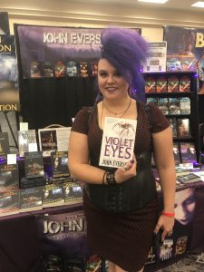 Purple haired girl with VIOLET EYES at HorrorHound Weekend 2017 in Indianapolis.