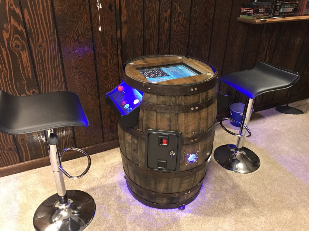 Arcade in a Whiskey Barrel
