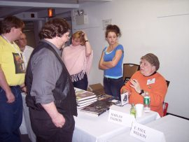 Bill Gagliani listens to Harlan Ellison at the Mass Signing.