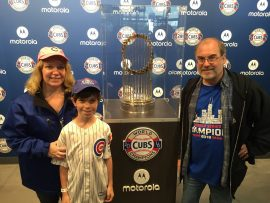 Geri, Shaun and John Everson with Cubs' 2016 World Series Championship trophy