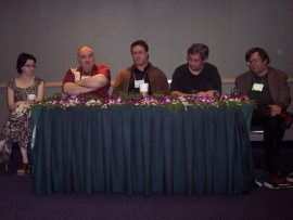 Filmmakers Panel - Peter Atkins and Eric Red are in the center.