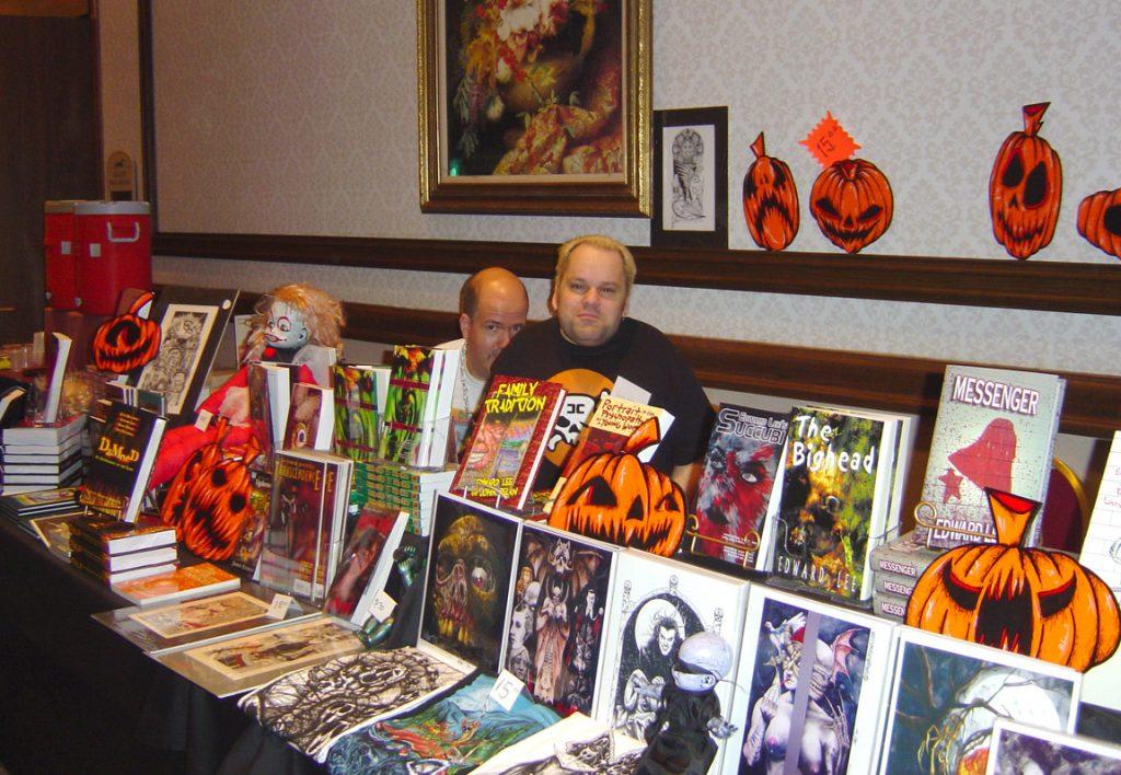 Gerarrd Houarner and David Barnett at the Necro Books table