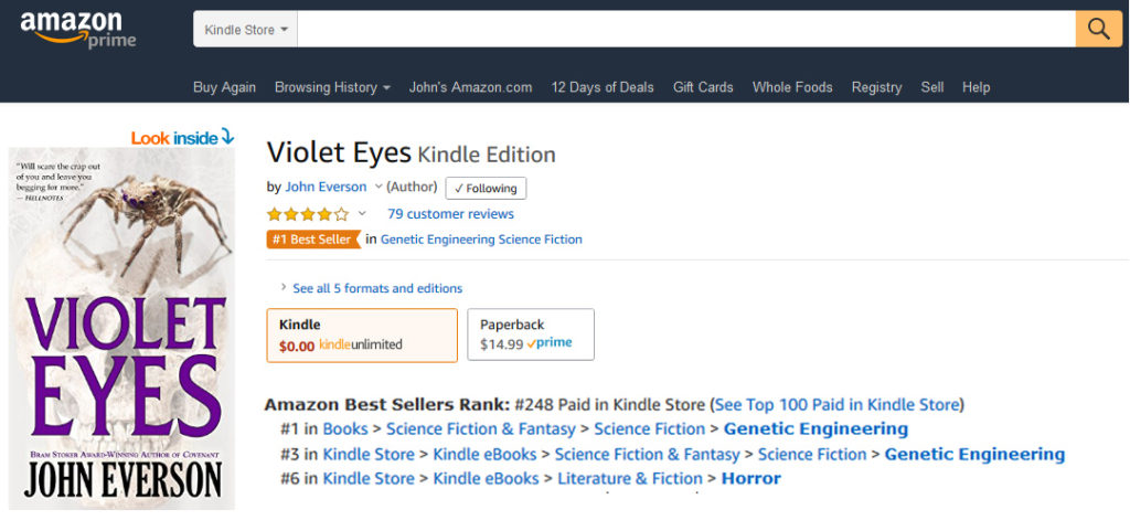Violet Eyes hits #1 on Amazon!